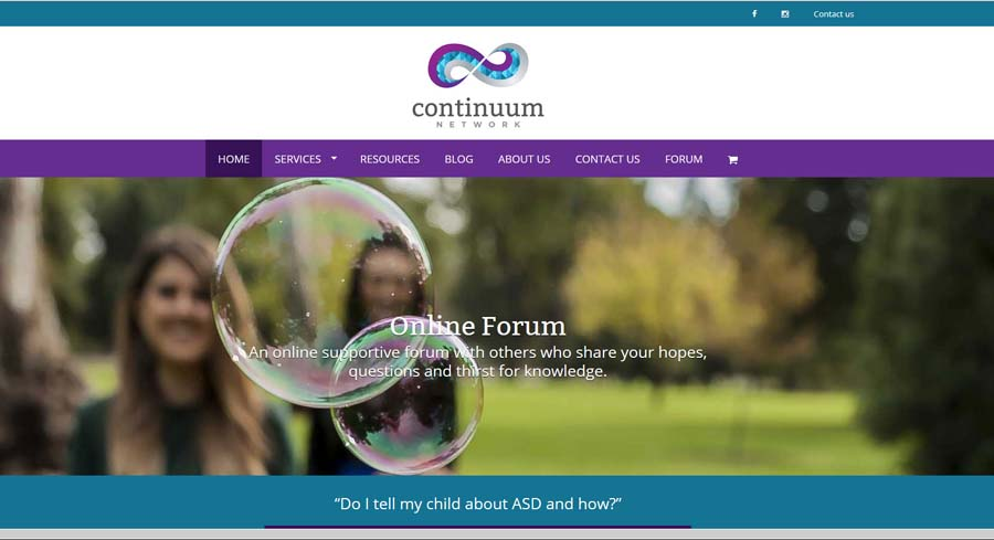 Website for Continuum Network in Adelaide