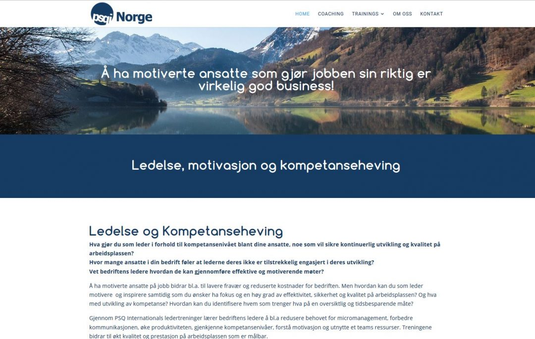 website development for PSQI Norway