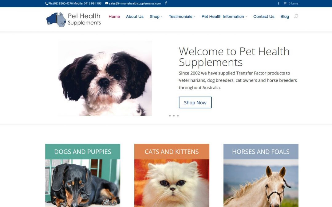Website for Pet Health Supplements in Adelaide