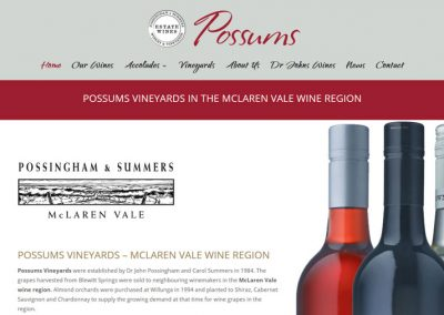 Website for Possums Vineyards, Possums Wines in McLaren Vale