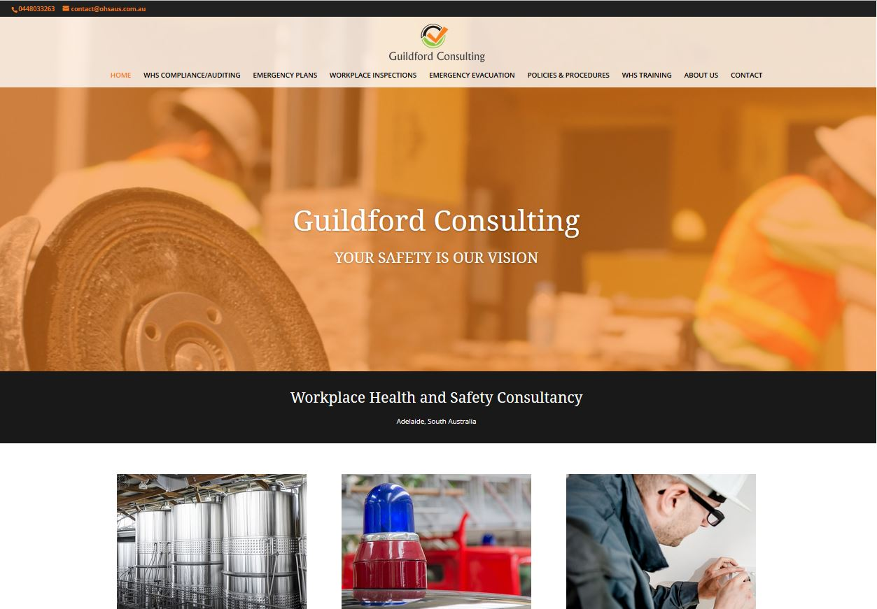 website design fo workplace safety consultant Adelaide