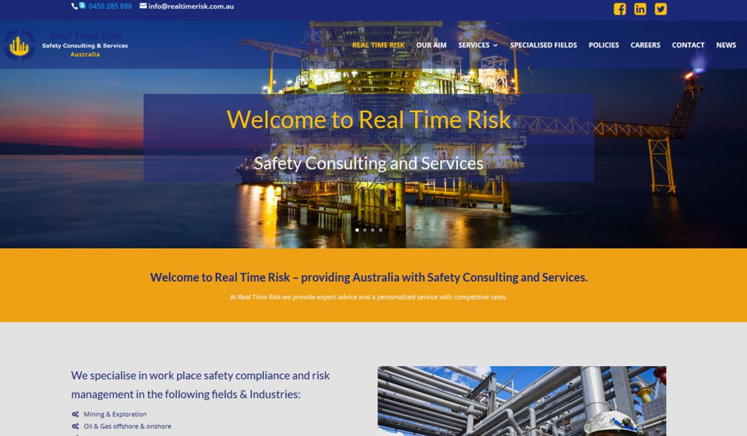 Real Time Risk Website for Safety Consulting and Services