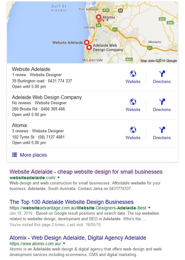 Google my business website adelaide