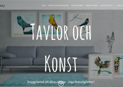 Website with Ecommerce for Tavlor och Konst in Sweden