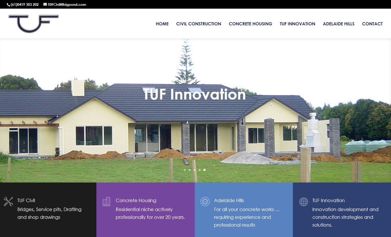 Website design South Australia building company TUF