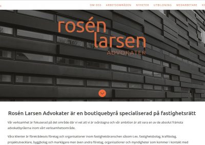 Website for Rosen Larsen Law firm in Malmo, Sweden