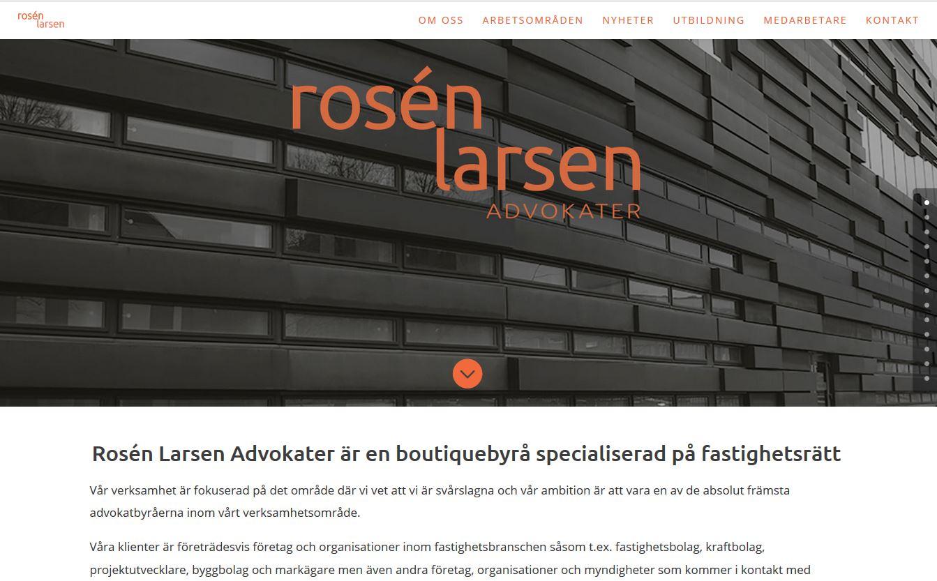Website for Rosen Larsen Law firm in Malmo, Sweden