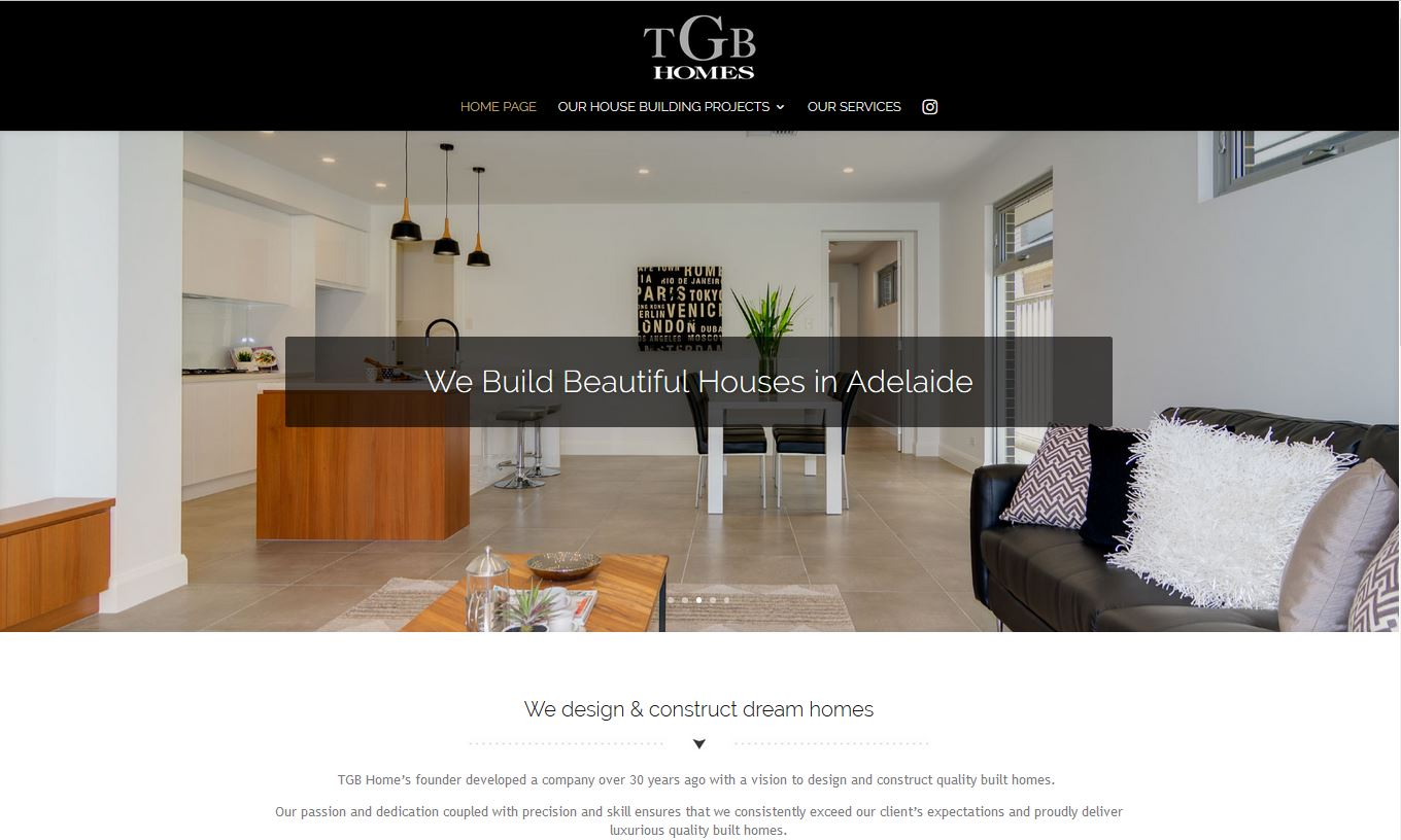 Website for TGB Homes - builder in Adelaide