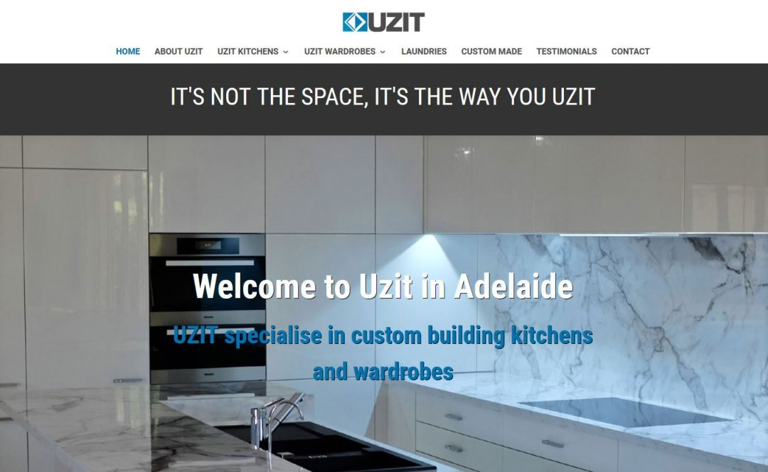 Website for UZIT Kitchen and Wardrobes Specialists in Adelaide