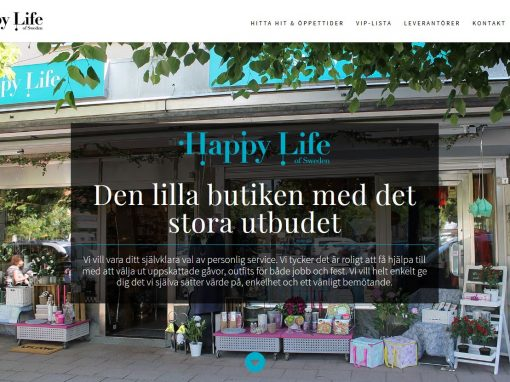 Website design for Happy Life of Sweden