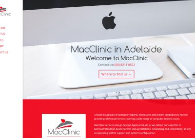 Website for MacClinic in Adelaide
