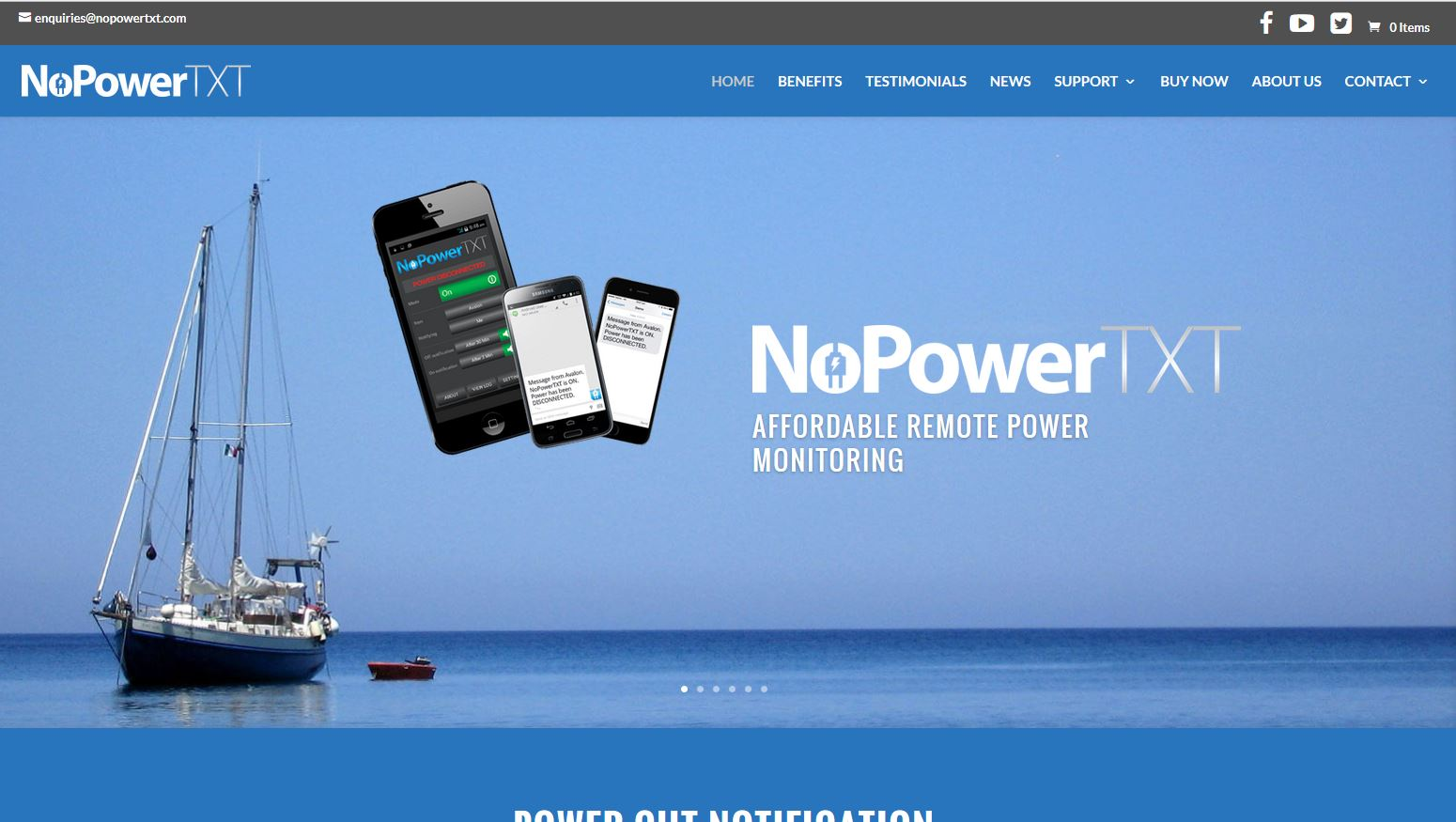 Website for NoPowerTXT in Australia