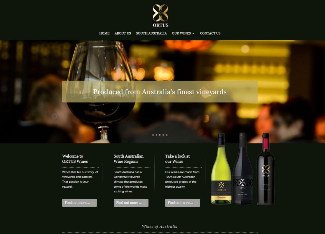 Website for Ortus Wines in Adelaide