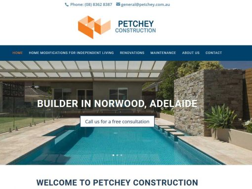 Website for Petchey building company in Adelaide