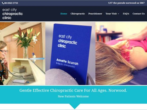 Website for East City Chiropractic Clinic in Adelaide