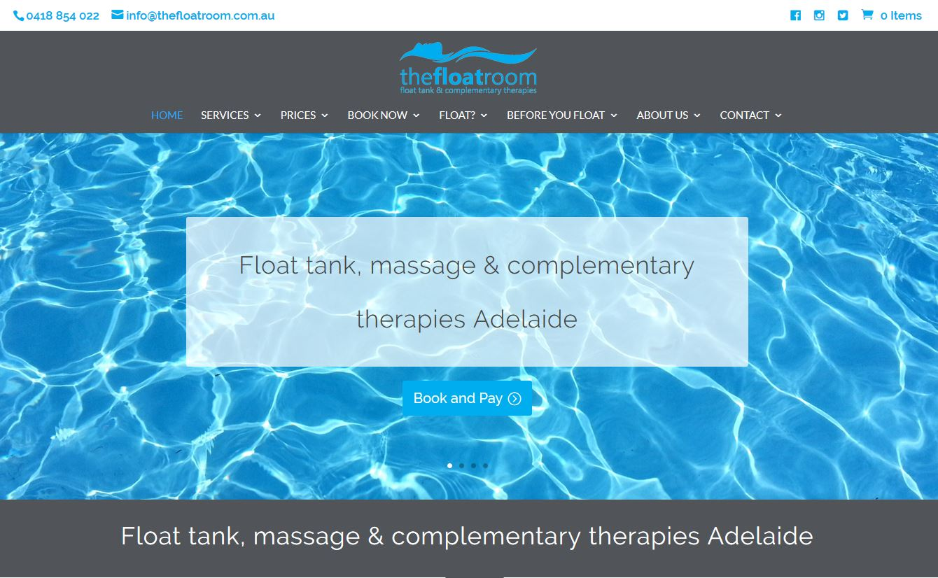 Website for the Float Room in Adelaide