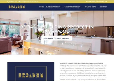 Website for Broaden, building company in Adelaide