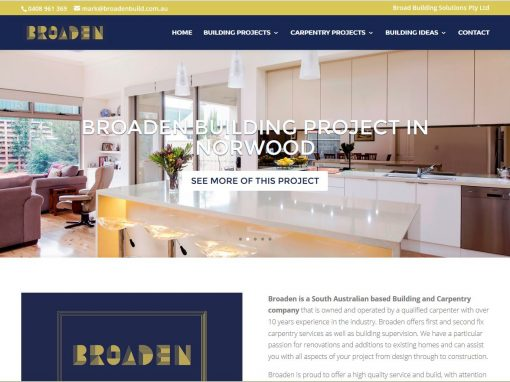 Website for Broaden, building company in Adelaide