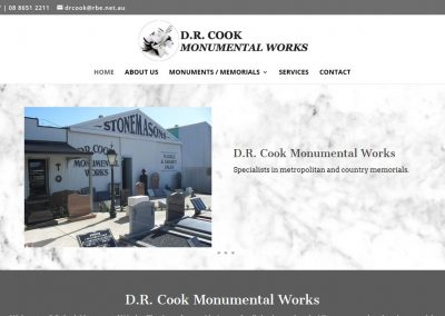 Website for DR Cook Monumental Works