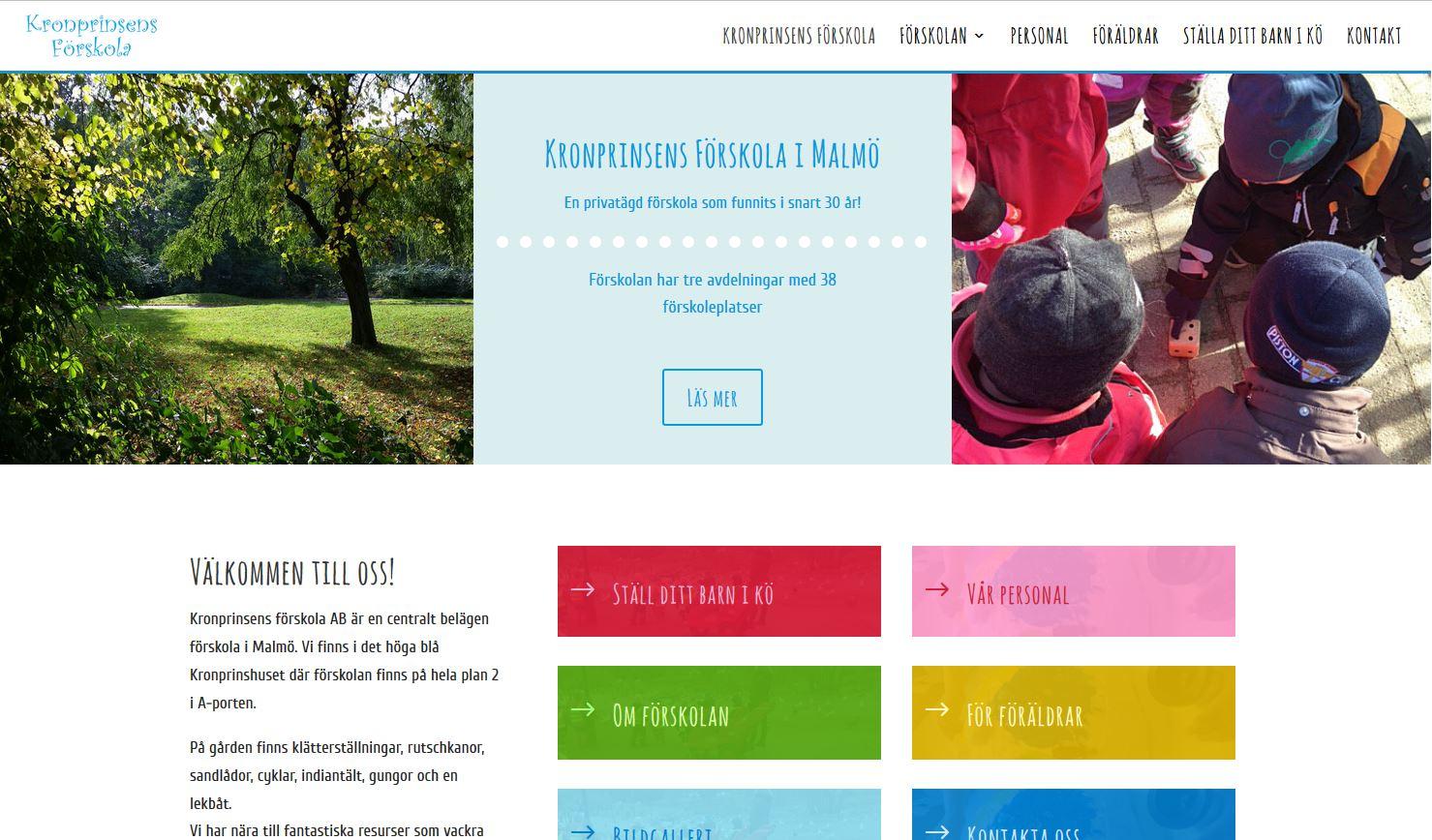 Website for Kronprinsens Förskola in Sweden