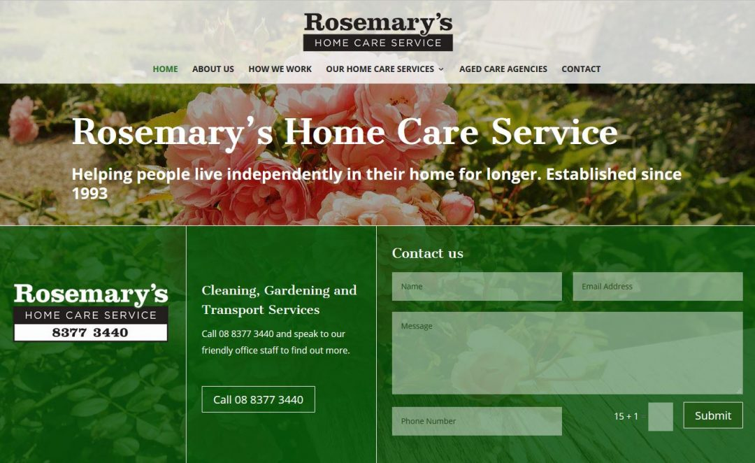 Website for Rosemary's Home Care Service in Adelaide