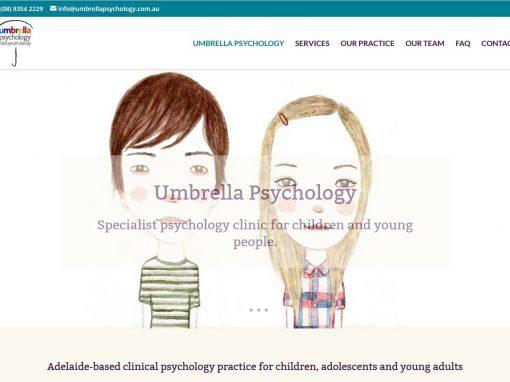 Website for Umbrella Psychology in Adelaide