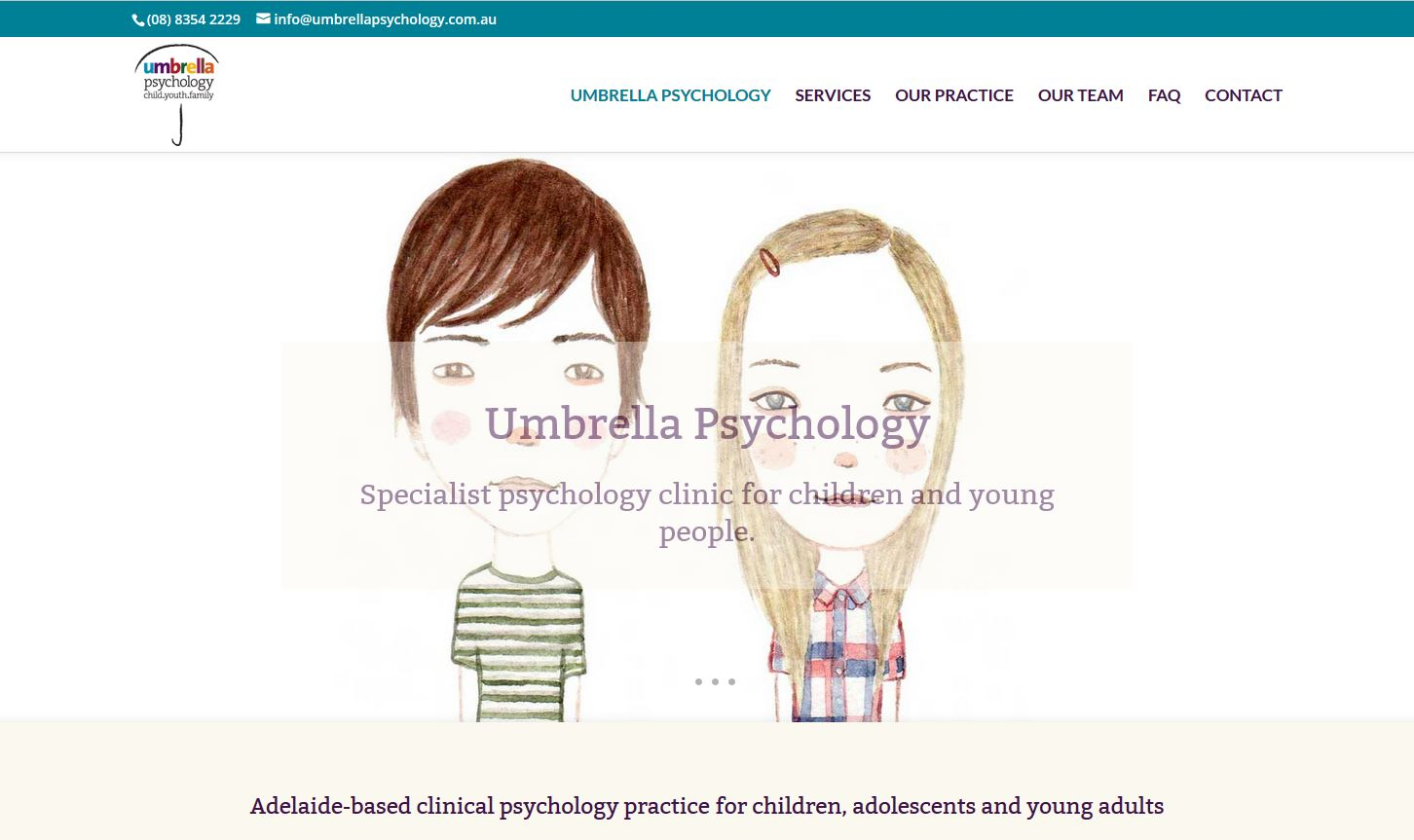 Website for Umbrella Psychology in Adelaide