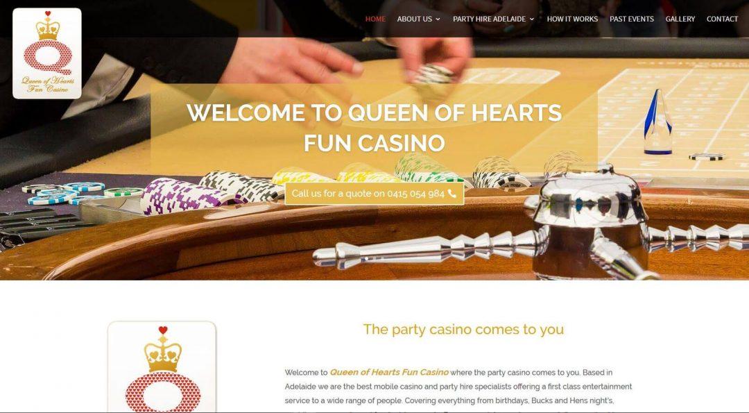 The redesign of Queen of Hearts Fun Casino's website