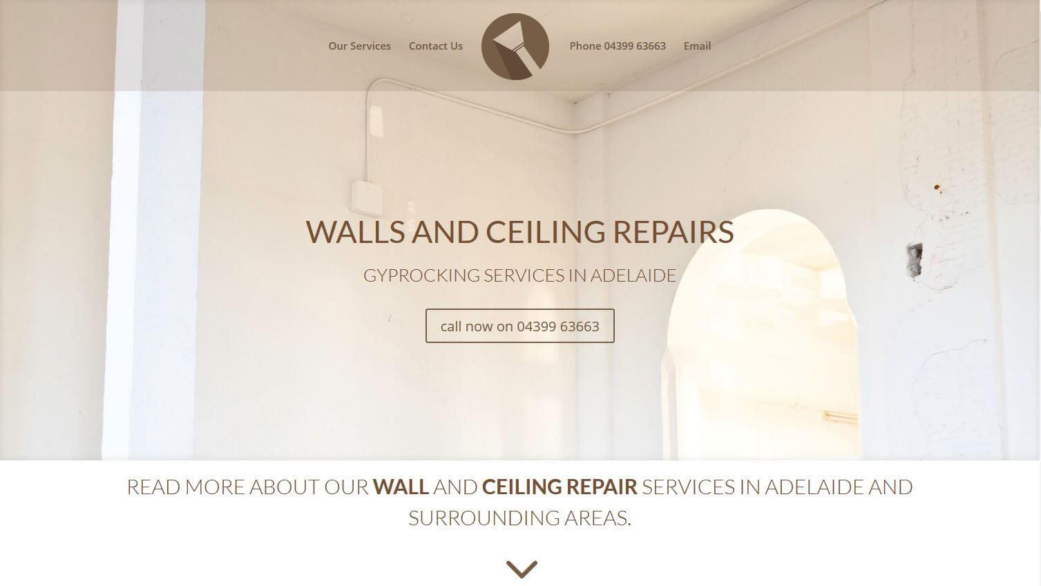Website for Walls and Ceiling repairs Adelaide