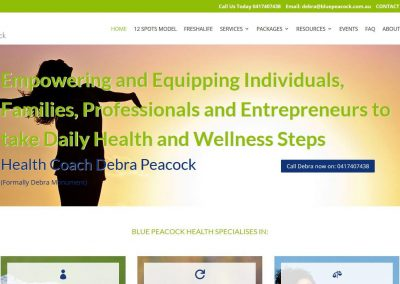 Website for Bluepeacock Health Coach Debra Peacock