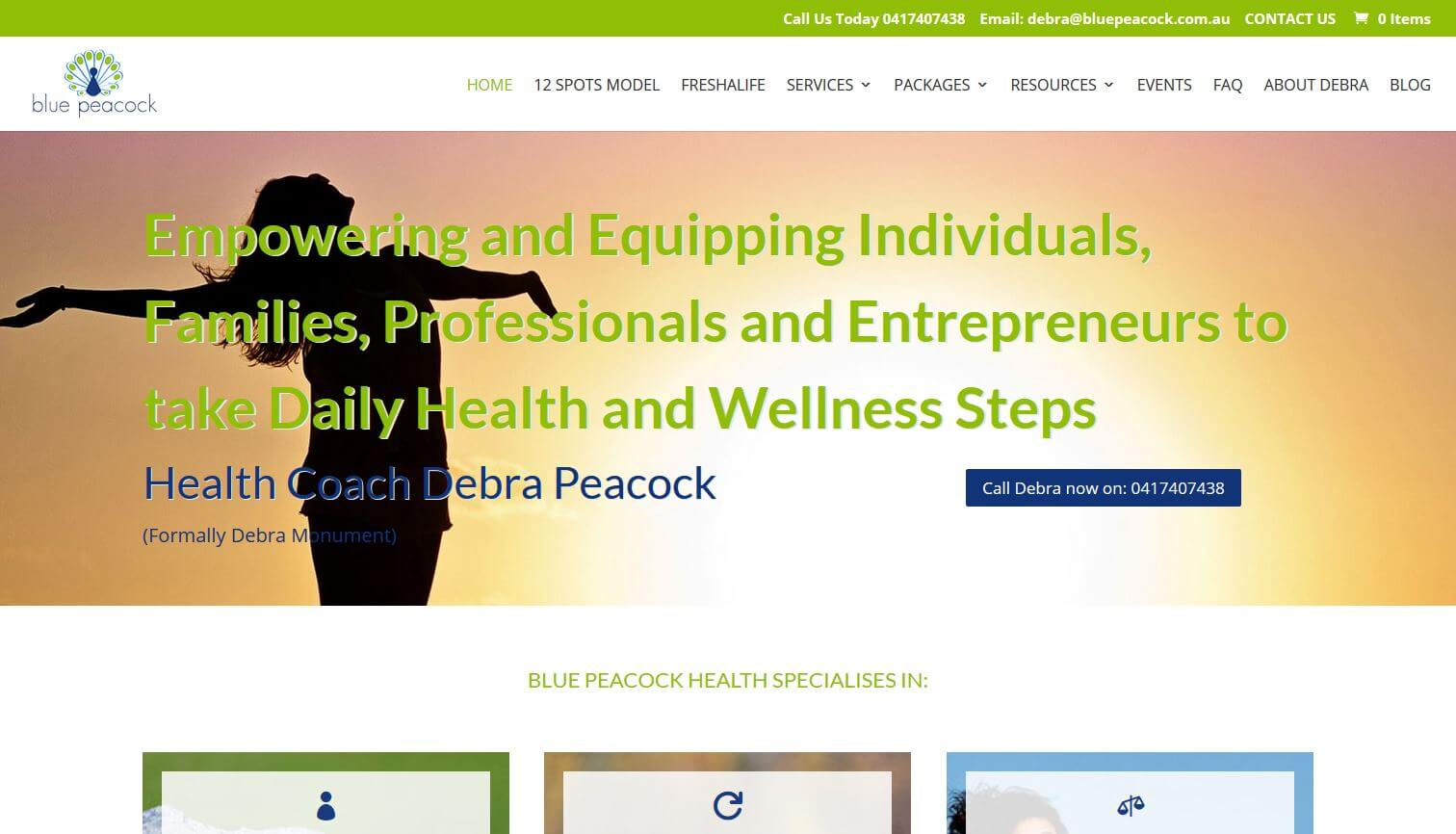 Website for Blue Peacock Health specialist