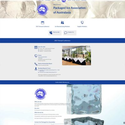 Website for Packaged Ice Association of Australasia