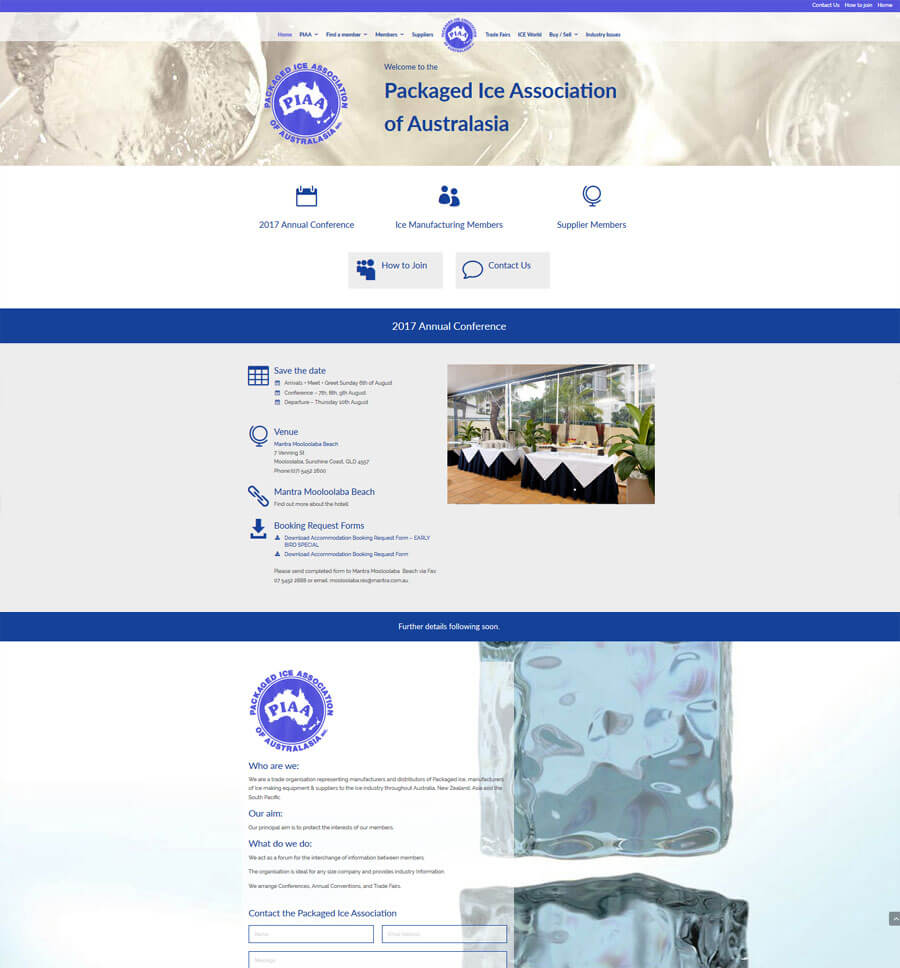 website designe for packaged ice association website