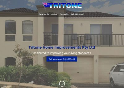 Single page website for Tritone Home Improvements Pty Ltd in Adelaide