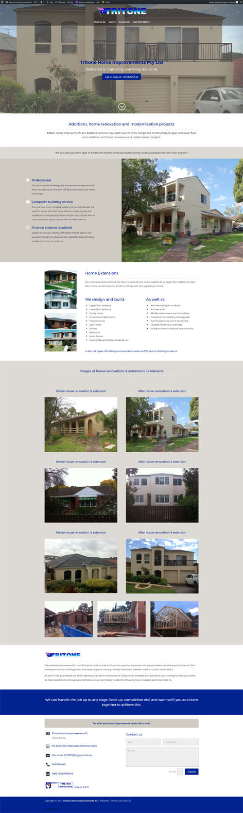 Website for Tritone Home Improvements Pty Ltd