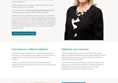 Website design for Post Operation Care at Home
