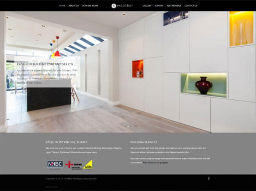 Website redesign for Excalibur Ltd in Surrey, England