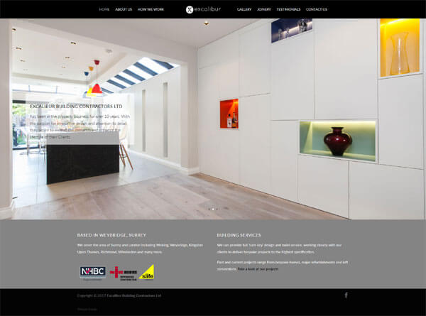Website design for Excalibur Building Contractors Ltd