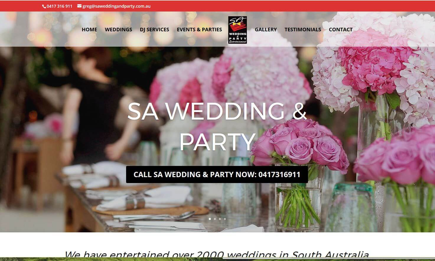 website for SA Wedding and Party DJs