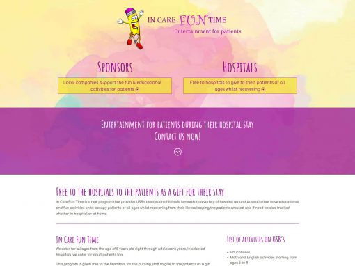 Website design for In Care Fun Time