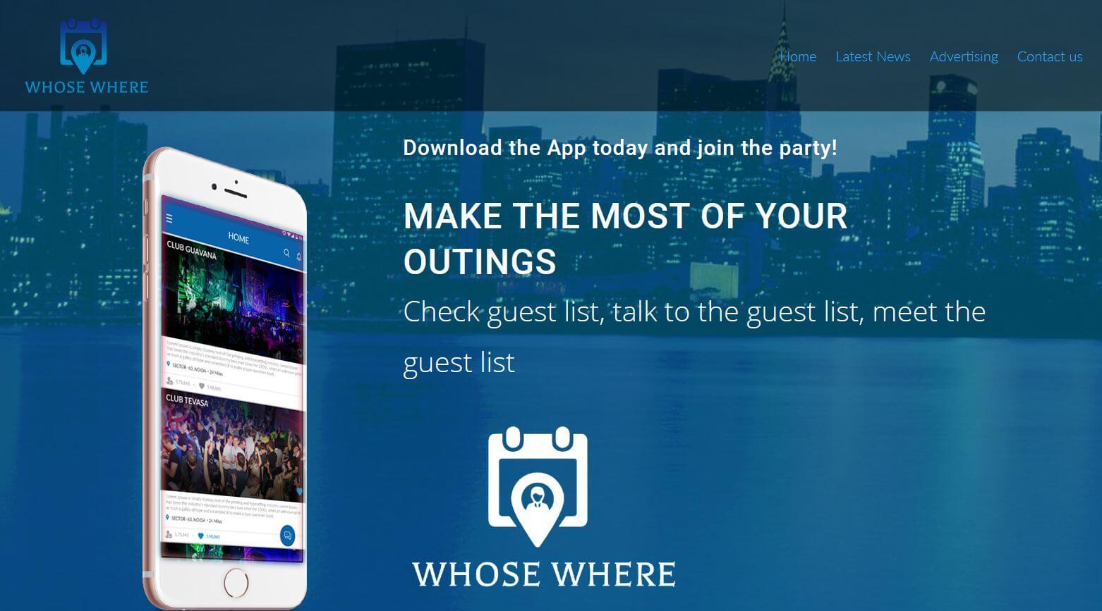 Website for WhoseWhere App