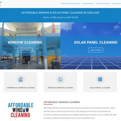 Website design for Affordable Window & Solar Panel Cleaning in Adelaide