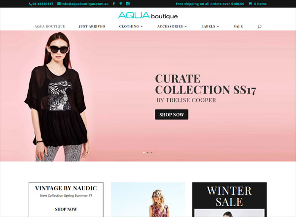 online shop website aquaboutique