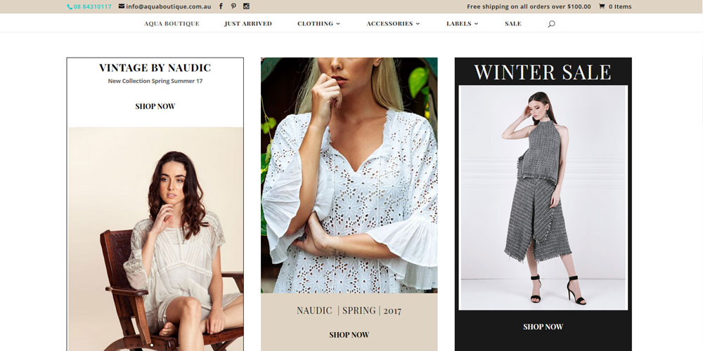 Ecommerce website for Aqua Boutique in Adelaide