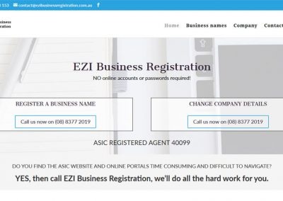 Website for EZI Business Registration