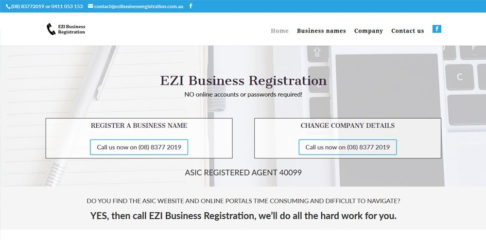 ezibusiness registration website