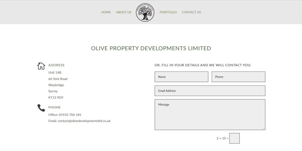 website for builder Olive Property Development
