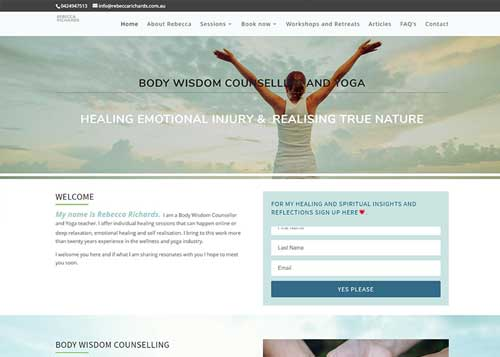 Website design for Rebecca Richards
