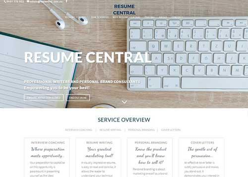 Resume Central Website Design