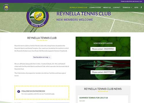 Reynella Tennis Club Website Design